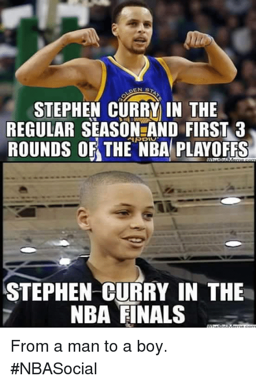 Finals, Nba, and Stephen: STEPHEN CURRY IN THE  REGULAR SEASON AND FIRST 3  ROUNDS OF THE NBA PLAYOFFS  STEPHEN CURRY IN THE  NBA FINALS From a man to a boy.   #NBASocial