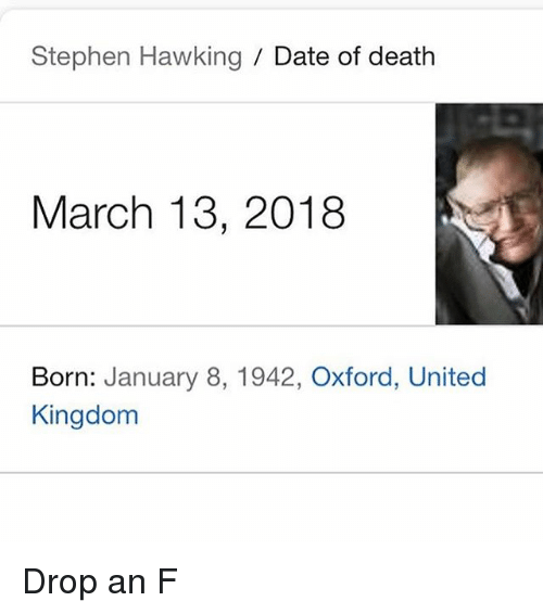 Funny, Stephen, and Stephen Hawking: Stephen Hawking / Date of death  March 13, 2018  Born: January 8, 1942, Oxford, United  Kingdom Drop an F