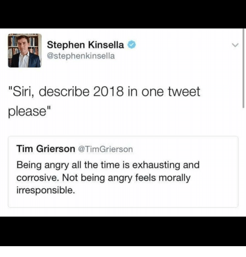 """Memes, Siri, and Stephen: Stephen Kinsella  @stephenkinsella  """"Siri, describe 2018 in one tweet  please""""  Tim Grierson @TimGrierson  Being angry all the time is exhausting and  corrosive. Not being angry feels morally  irresponsible."""