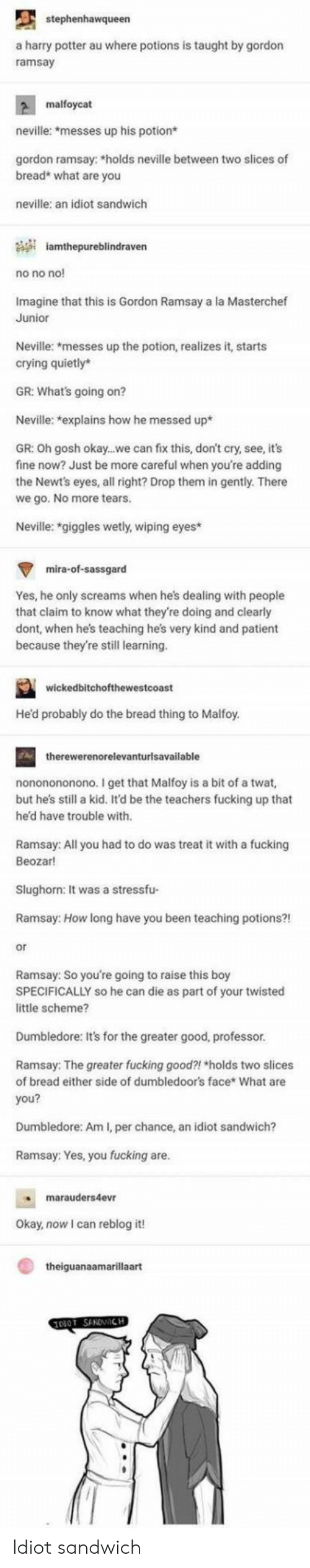 masterchef: stephenhawqueen  a harry potter au where potions is taught by gordon  ramsay  malfoycat  neville: *messes up his potion*  gordon ramsay: *holds neville between two slices of  bread* what are you  neville: an idiot sandwich  iamthepureblindraven  no no no  Imagine that this is Gordon Ramsay a la Masterchef  Junior  Neville: *messes up the potion, realizes it, starts  crying quietly*  GR: What's going on?  Neville: explains how he messed up*  GR: Oh gosh okay...we can fix this, don't cry, see, it's  fine now? Just be more careful when you're adding  the Newt's eyes, all right? Drop them in gently. There  we go. No more tears  Neville: *giggles wetly, wiping eyes  mira-of-sassgard  Yes, he only screams when he's dealing with people  that claim to know what they're doing and clearly  dont, when hes teaching he's very kind and patient  because they're stil learning  wickedbitchofthewestcoast  Hed probably do the bread thing to Malfoy  therewerenorelevanturlsavailable  nononononono. I get that Malfoy is a bit of a twat,  but hes still a kid. It'd be the teachers fucking up that  he'd have trouble with  Ramsay: All you had to do was treat it with a fucking  Beozar!  Slughorn: It was a stressfu-  Ramsay: How long have you been teaching potions?!  or  Ramsay: So you're going to raise this boy  SPECIFICALLY so he can die as part of your twisted  little scheme?  Dumbledore: It's for the greater good, professor  Ramsay: The greater fucking good?! holds two slices  of bread either side of dumbledoor's face* What are  you?  Dumbledore: Am I, per chance, an idiot sandwich?  Ramsay: Yes, you fucking are  marauders4evr  Okay, now I can reblog it!  theiguanaamarillaart Idiot sandwich