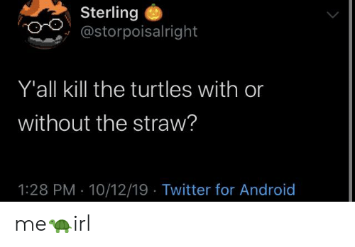 Android, Twitter, and Irl: Sterling  @storpoisalright  Y'all kill the turtles with or  without the straw?  1:28 PM 10/12/19 Twitter for Android me🐢irl
