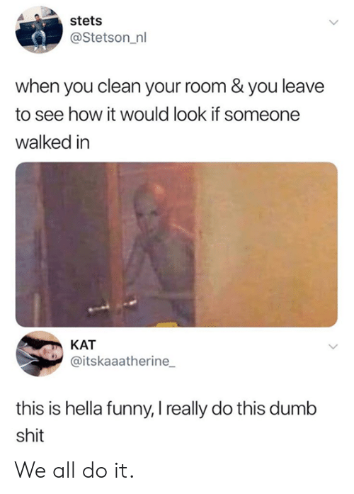 Dank, Dumb, and Funny: stets  @Stetson_nl  when you clean your room & you leave  to see how it would look if someone  walked in  KAT  @itskaaatherine  this is hella funny, I really do this dumb  shit We all do it.