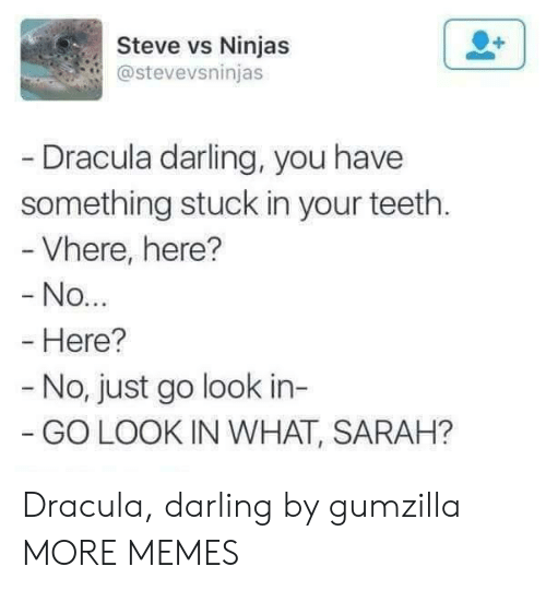 Dracula: Steve vs Ninjas  @stevevsninjas  Dracula darling, you have  something stuck in your teeth.  Vhere, here?  No  Here?  - No, just go look in-  GO LOOK IN WHAT, SARAH? Dracula, darling by gumzilla MORE MEMES