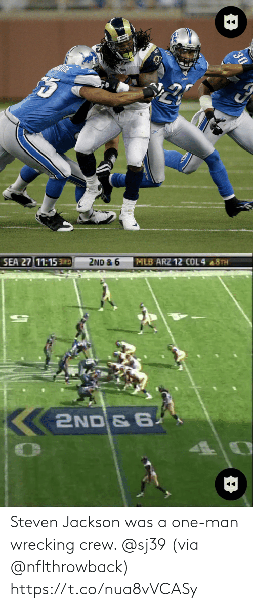 Was A: Steven Jackson was a one-man wrecking crew. @sj39 (via @nflthrowback) https://t.co/nua8vVCASy