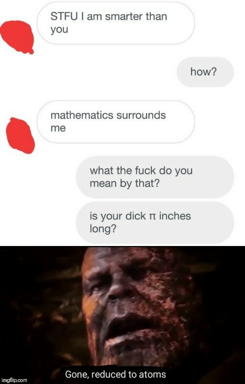 Stfu, Dick, and Fuck: STFU I am smarter than  you  how?  mathematics surrounds  me  what the fuck do you  mean by that?  is your dick t inches  long?  Gone, reduced to atoms  imgflip.com
