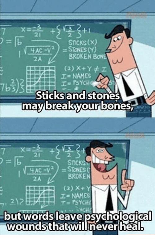 broken bone: STICKS (x)  SToNES (Y)  BROKEN  BONE  (2) x Y I  Ia PSYCHQ  Sticks and stones  may break your bones  STICKS  AC -V  BROKEN  I NAMES  T PSYCHE  Out Words leave psychological  wounds that will never heal
