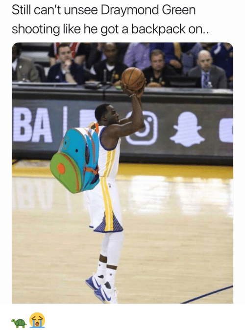 Draymond Green, Nba, and Got: Still can't unsee Draymond Green  shooting like he got a backpack on.  BA 🐢😭