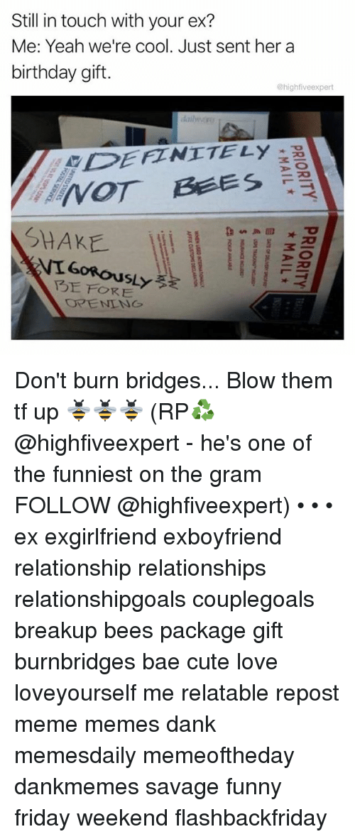Danks: Still in touch with your ex?  Me: Yeah we're cool. Just sent her a  birthday gift.  @highfiveexpert  dailwぶ!  DEFZNITELy  SHAKE  FORE Don't burn bridges... Blow them tf up 🐝🐝🐝 (RP♻️ @highfiveexpert - he's one of the funniest on the gram FOLLOW @highfiveexpert) • • • ex exgirlfriend exboyfriend relationship relationships relationshipgoals couplegoals breakup bees package gift burnbridges bae cute love loveyourself me relatable repost meme memes dank memesdaily memeoftheday dankmemes savage funny friday weekend flashbackfriday
