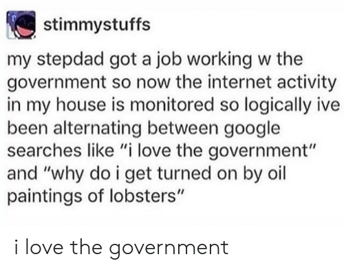 "Google, Internet, and Love: stimmystuffs  my stepdad got a job working w the  government so now the internet activity  in my house is monitored so logically ive  been alternating between google  searches like ""i love the government""  and ""why do i get turned on by oil  paintings of lobsters"" i love the government"