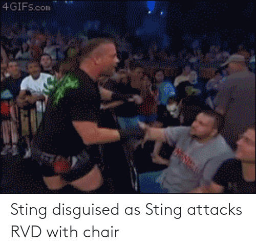 Attacks: Sting disguised as Sting attacks RVD with chair