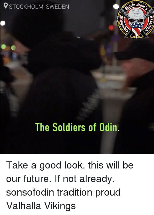 Future, Memes, and Soldiers: STOCKHOLM, SWEDEN  1773  The Soldiers of Odin, Take a good look, this will be our future. If not already. sonsofodin tradition proud Valhalla Vikings