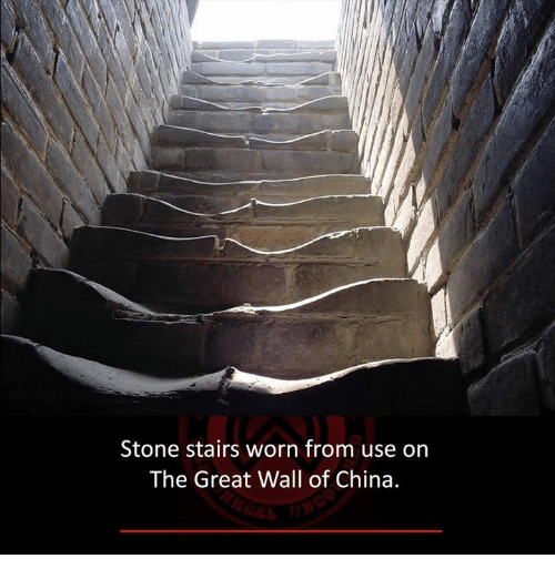 the-great-wall: Stone stairs worn from use on  The Great Wall of China.