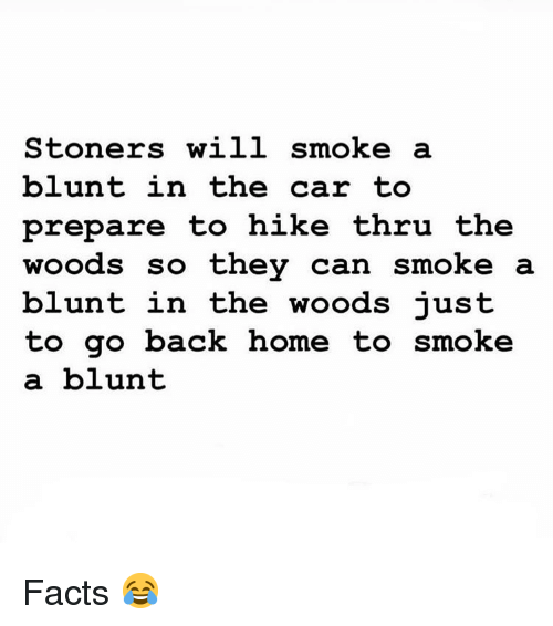 Stoners: Stoners will smoke a  blunt in the car to  prepare to hike thru the  woods so thev can smoke a  blunt in the woods iust  to go back home to smoke  a blunt Facts 😂