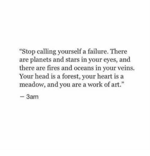 """Head, Work, and Heart: """"Stop calling yourself a failure. There  are planets and stars in your eyes, and  there are fires and oceans in your veins.  Your head is a forest, your heart is a  meadow, and you are a work of art.""""  3am"""