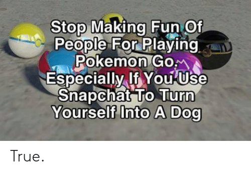 making fun: Stop Making Fun Of  People For Playing  Pokemon Gom  Especially If You Use  Snapchat To Turn  Yourself Into A Dog True.