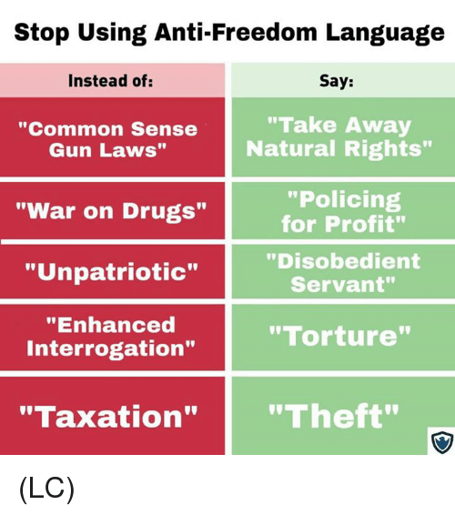 "Drugs, Memes, and Common: Stop Using Anti-Freedom Language  Instead of:  Say:  ""Common Sense  Gun Laws""  ""Take Away  Natural Rights""  ""Policing  for Profit""  ""Disobedient  Servant""  ""War on Drugs""  ""Unpatriotic""  ""Enhanced  Interrogation""  ""Torture  ""Taxation""""Theft"" (LC)"
