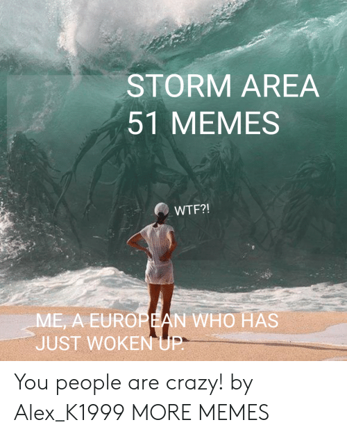 Crazy, Dank, and Memes: STORM AREA  51 MEMES  WTF?!  ME, A EUROPEAN WHO HAS  JUST WOKEN UP- You people are crazy! by Alex_K1999 MORE MEMES