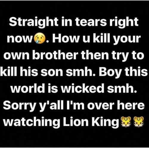 Memes, Smh, and Sorry: Straight in tears right  now. How u kill your  own brother then try to  kill his son smh. Boy this  world is wicked smh.  Sorry y'all I'm over here  watching Lion King