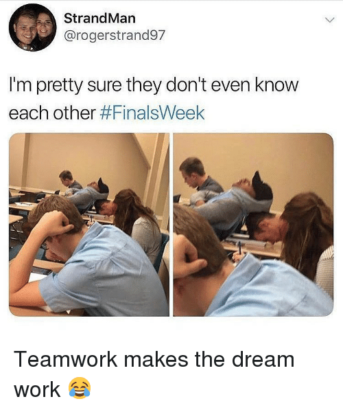 Memes, Work, and 🤖: StrandMan  @rogerstrand97  I'm pretty sure they don't even know  each other Teamwork makes the dream work 😂