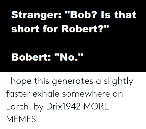 """Dank, Memes, and Target: Stranger: """"Bob? Is that  short for Robert?""""  Bobert: """"No."""" I hope this generates a slightly faster exhale somewhere on Earth. by Drix1942 MORE MEMES"""