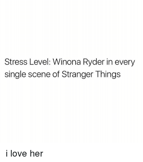 Winona Ryder: Stress Level: Winona Ryder in every  single scene of Stranger Things i love her