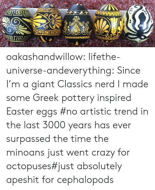 Crazy, Easter, and Nerd: STS  gGE oakashandwillow:  lifethe-universe-andeverything: Since I'm a giant Classics nerd I made some Greek pottery inspired Easter eggs   #no artistic trend in the last 3000 years has ever surpassed the time the minoans just went crazy for octopuses#just absolutely apeshit for cephalopods