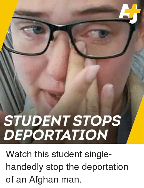 Afghan: STUDENT STOPS  DEPORTATION Watch this student single-handedly stop the deportation of an Afghan man.