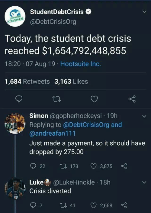 Today, Student, and Hootsuite: StudentDebtCrisis  STONT OEST  CRISIS  @DebtCrisisOrg  Today, the student debt crisis  reached $1,654,792,448,855  18:20 07 Aug 19 Hootsuite Inc.  1,684 Retweets 3,163 Likes  Simon @gopherhockeysi 19h  Replying to @DebtCrisisOrg and  @andreafan111  Just made a payment, so it should have  dropped by 275.00  t173  3,875  22  Luke@LukeHinckle 18h  Crisis diverted  7  t 41  2,668