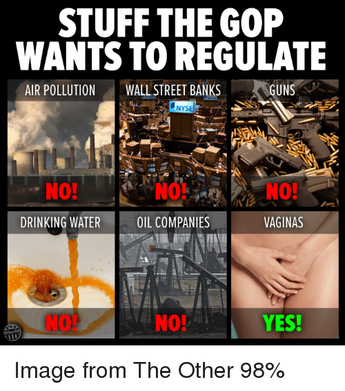 Nyse: STUFF THE GOP  WANTS TO REGULATE  AIR POLLUTION  WALL STREET BANKS  GUNS  NYSE  DRINKING WATER  OIL COMPANIES  VAGINAS  YES! Image from The Other 98%
