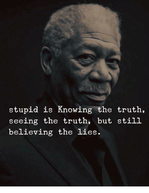The Lies: stupid is Knowing the truth,  seeing the truth, but still  believing the lies.