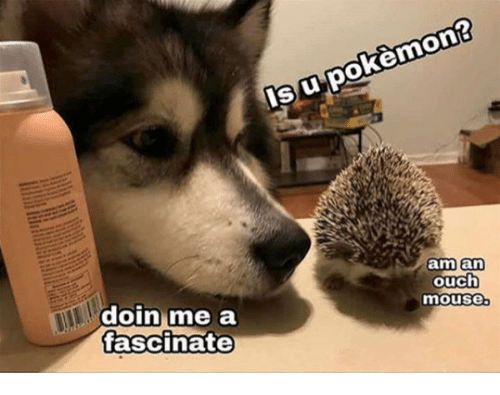 Mouse, Ouch, and Doin: su pokemnon?  m an  ouch  mouse  doin me a  tascinate