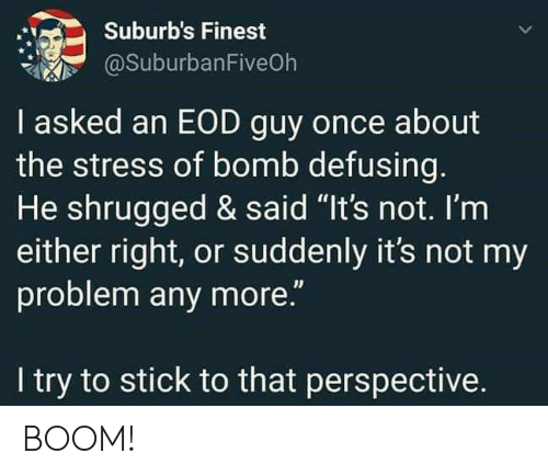 "Not My Problem: Suburb's Finest  @SuburbanFiveOh  I asked an EOD guy once about  the stress of bomb defusing.  He shrugged & said ""It's not. I'm  either right, or suddenly it's not my  problem any more.""  I try to stick to that perspective. BOOM!"