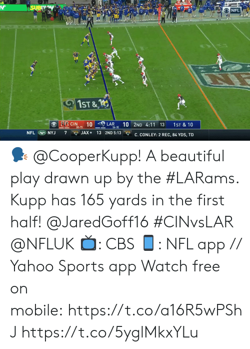 lar: SUBY  s JADE  NFL  1ST &  KEB CIN  10  (0-7)  10 2ND 4:11 13  LAR  1ST & 10  14-3)  NFL NYJ  JAX 13 2ND 5:13  7  C. CONLEY: 2 REC, 84 YDS, TD 🗣 @CooperKupp!  A beautiful play drawn up by the #LARams. Kupp has 165 yards in the first half! @JaredGoff16 #CINvsLAR @NFLUK  📺: CBS 📱: NFL app // Yahoo Sports app Watch free on mobile:https://t.co/a16R5wPShJ https://t.co/5yglMkxYLu