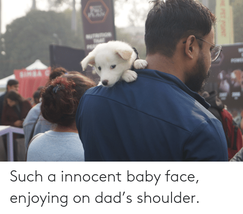 innocent: Such a innocent baby face, enjoying on dad's shoulder.