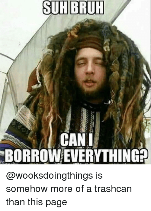 Bruh, Memes, and Borrow: SUH BRUH  2  BORROW EVERYTHING @wooksdoingthings is somehow more of a trashcan than this page