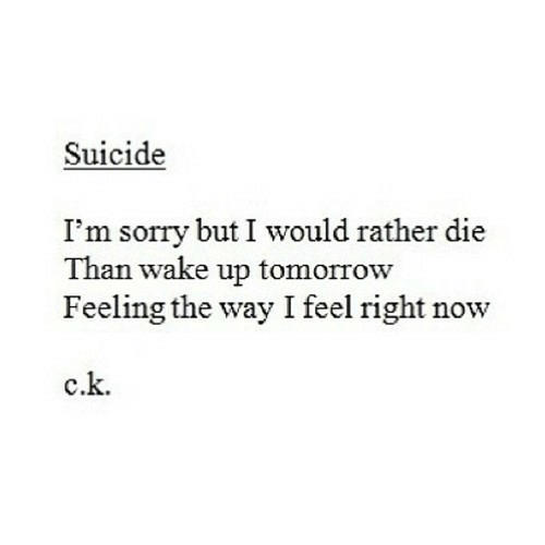 Sorry, Suicide, and Tomorrow: Suicide  I'm sorry but I would rather die  Than wake up tomorrow  Feeling the way I feel right now  c.k.