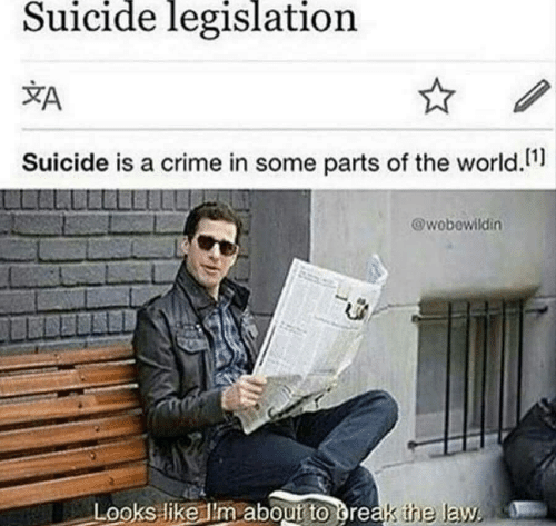 Crime, Suicide, and World: Suicide legislation  Suicide is a crime in some parts of the world  @wobewildin  Looks like lm aboutrt  o greak the law