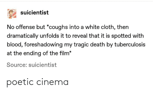 Death, White, and Poetic: suicientist  No offense but *coughs into a white cloth, then  dramatically unfolds it to reveal that it is spotted with  blood, foreshadowing my tragic death by tuberculosis  at the ending of the film*  Source: suicientist poetic cinema