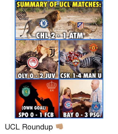 rti: SUMMARY OF UCL MATCHES:  NFINITE  FOOTBALL  HELS  JUVENTUS  RTI  EA  (OWN GOAL)  SPO 0 1 FCBBAY 0 3 PSG UCL Roundup 👊🏽