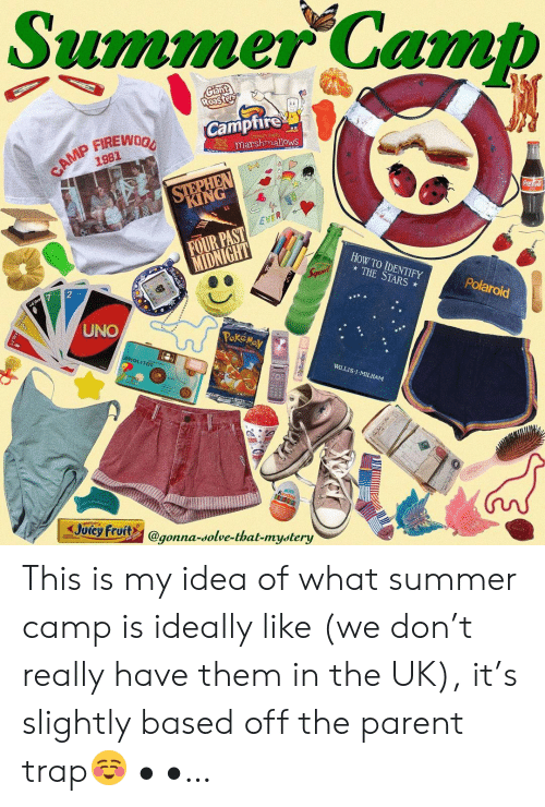 fruits: Summer Camb  Camptire  marshmallows  1981  KING  EVER  FOUR PAST  HoW TO IDENTIFY  THE STARS  Polaroid  UNO  WILLIS:l . MILHAM  Joicy Fruits @gonna-solve-that-mystery  gonna-dolve-that-mydtery This is my idea of what summer camp is ideally like (we don't really have them in the UK), it's slightly based off the parent trap☺️ • •…