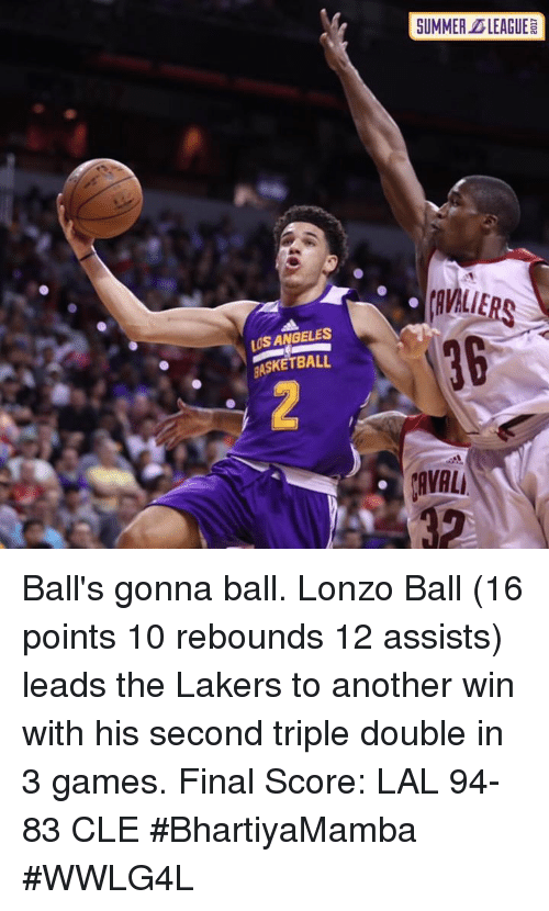 Basketball, Los Angeles Lakers, and Memes: SUMMER DLEAGUE  avALiERs  36  LUS ANGELES  BASKETBALL  AVAL Ball's gonna ball.  Lonzo Ball (16 points 10 rebounds 12 assists) leads the Lakers to another win with his second triple double in 3 games.  Final Score: LAL 94-83 CLE  #BhartiyaMamba #WWLG4L