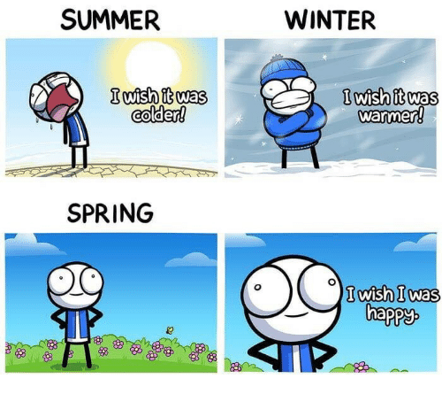 Winter, Summer, and Spring: SUMMER  WINTER  lwish it was  warmer  colder!  SPRING