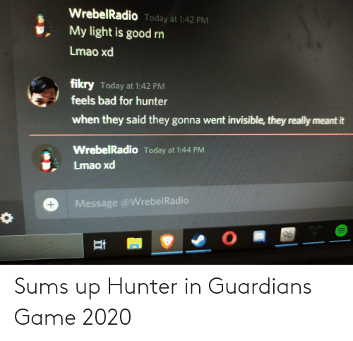 hunter: Sums up Hunter in Guardians Game 2020