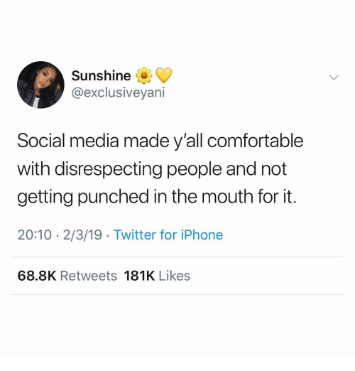 Comfortable, Iphone, and Social Media: Sunshine  @exclusiveyani  Social media made y'all comfortable  with disrespecting people and not  getting punched in the mouth for it.  20:10 2/3/19 Twitter for iPhone  68.8K Retweets 181K Likes