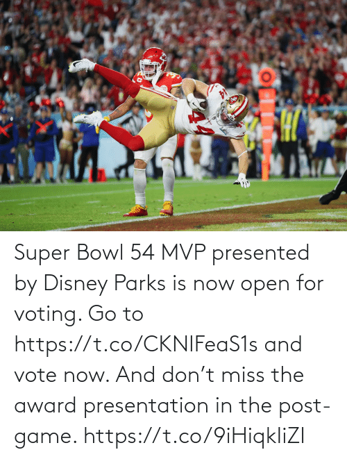 vote: Super Bowl 54 MVP presented by Disney Parks is now open for voting. Go to https://t.co/CKNIFeaS1s and vote now.   And don't miss the award presentation in the post-game. https://t.co/9iHiqkIiZI