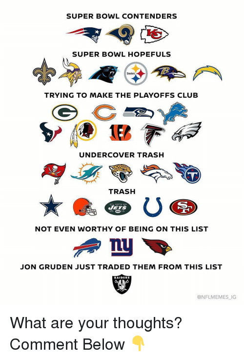 Club, Sports, and Super Bowl: SUPER BOWL CONTENDERS  SUPER BOWL HOPEFULS  Steelers  TRYING TO MAKE THE PLAYOFFS CLUB  UNDERCOVER TRASH  TRASH  JETS  NOT EVEN WORTHY OF BEING ON THIS LIST  JON GRUDEN JUST TRADED THEM FROM THIS LIST  RAIDERS  @NFLMEMES_IG What are your thoughts? Comment Below 👇