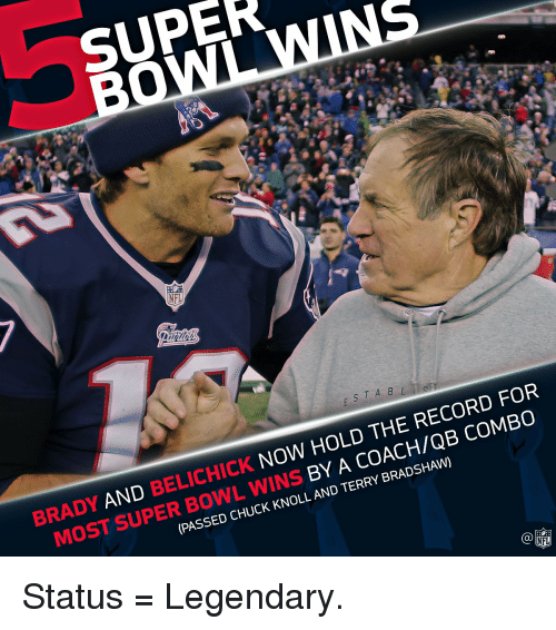 Terries: SUPER  NFL  NOW HOLD THE RECORD FOR  COMBO  BRADY  AND BELICHICK BY TERRY BRADSHAW)  A AND (PASSED CHUCK KNOLL NFL Status = Legendary.