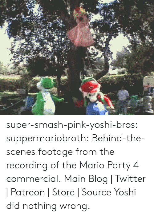 the mario: super-smash-pink-yoshi-bros: suppermariobroth:  Behind-the-scenes footage from the recording of the Mario Party 4 commercial. Main Blog | Twitter | Patreon | Store | Source  Yoshi did nothing wrong.