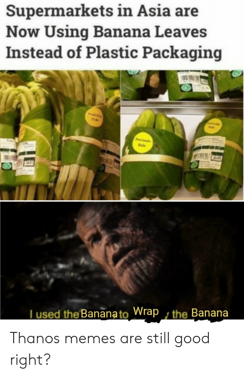 Memes, Banana, and Good: Supermarkets in Asia are  Now Using Banana Leaves  Instead of Plastic Packaging  Pde  Sale  ko A  Tused the Bananato Wrap , the Banana Thanos memes are still good right?