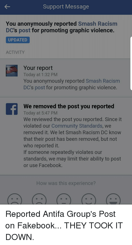 Support Message You Anonymously Reported Smash Racisnm DC's